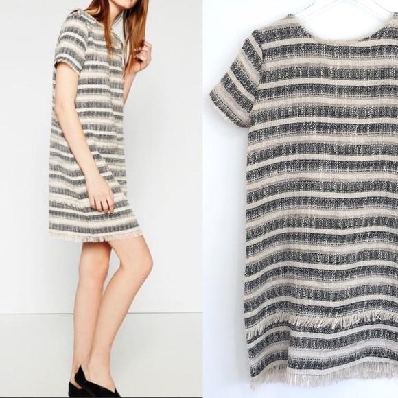 b8aec43b Zara Dresses | Like New Fringe Jacquard Stripe Dress Sm | Poshmark